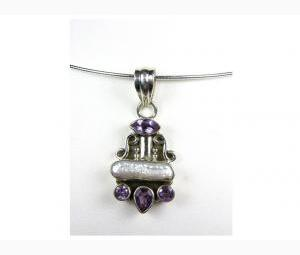 Sparkling Pearl & Amethyst Pendant