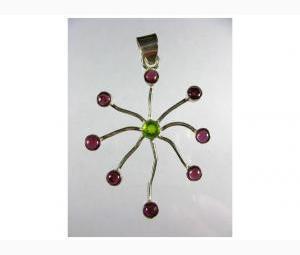 Unique Peridot and Garnet Pendant!