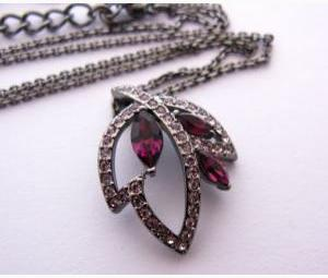 Multi Leaf Violet Crystal Necklace