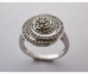 Diamond & White Gold Swirl Ring