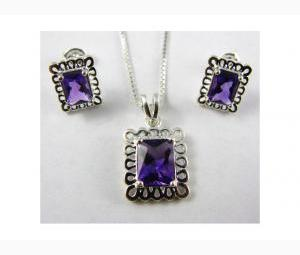 Opulent 3.5 ctw Amethyst Earrings & Necklace Set