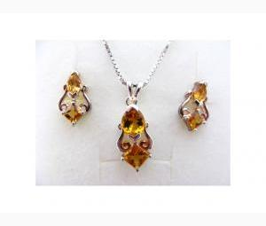 Stunning 2 ctw Citrine Earrings & Necklace Set