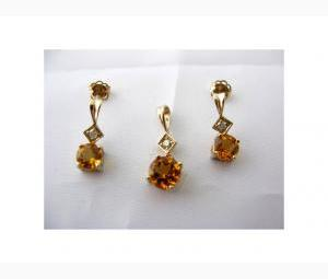 Magnificent Pendant & Earrings Set - Citrines & Diamonds