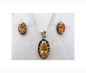 Impressive Citrine Pendant & Earrings Set