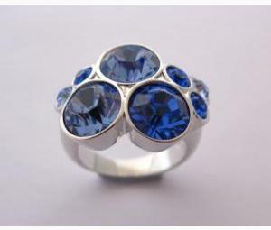 Multi Blue Crystal Cluster Ring