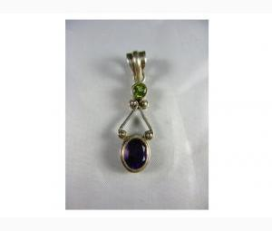 Lustrous Amethyst and Peridot Pendant