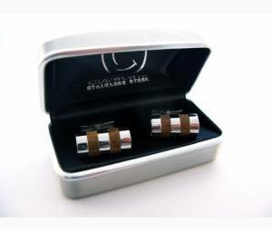 Cufflinks - Stainless Steel & Wood