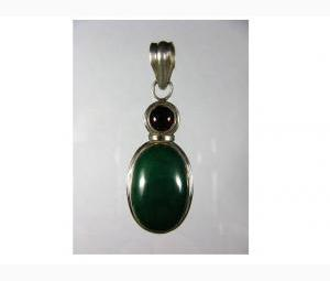 Exceptional Malachite and Garnet Pendant