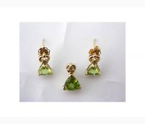 Gorgeous Earrings & Pendant Set - Peridots & Diamonds